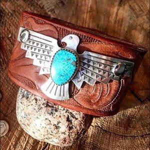 "Jewelry - Leather, turquoise ""Freebird"" cuff medium"